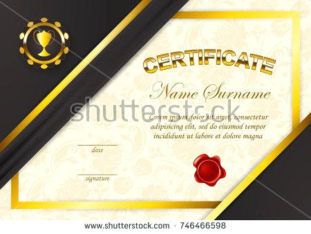 450x339 Certificate Of Achievement Template With Red Wax Seal In Vector