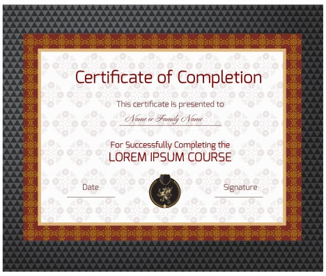 468x397 Completion Certificate Vector Illustration With Classical Frame