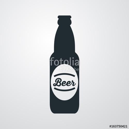 500x500 Icono Plano Botella De Cerveza Con Etiqueta En Fondo Degradado