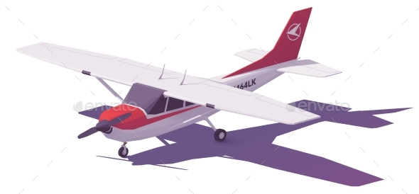 590x274 Vector Low Poly Small Airplane By Tele52 Graphicriver