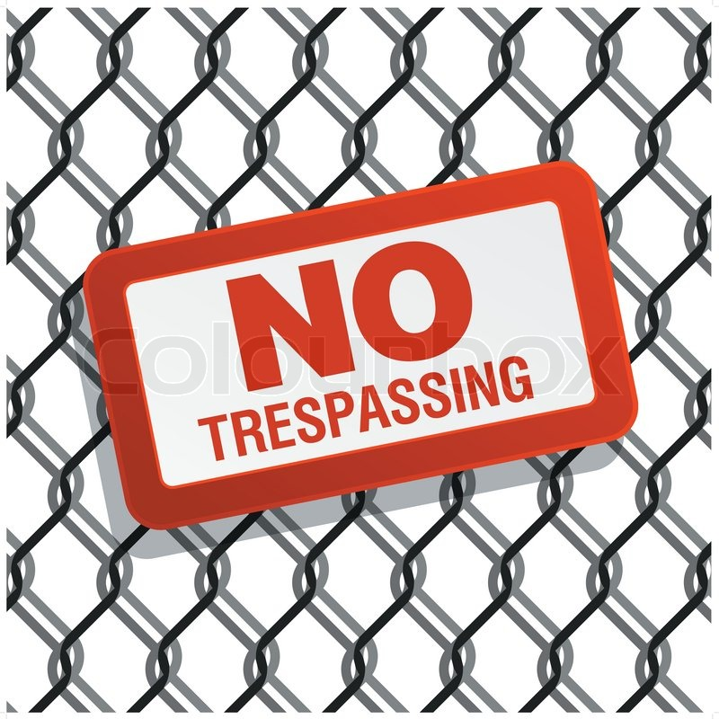800x800 No Trespassing Sign On Chain Link Fence Stock Vector Colourbox