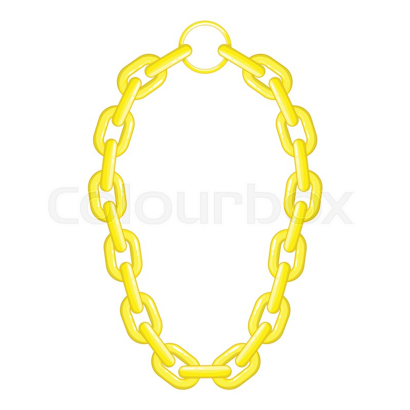 800x800 Golden Chain Necklace Icon. Cartoon Illustration Of Golden Chain