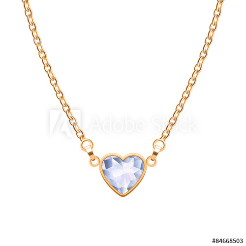 500x500 Golden Chain Necklace With Heart Diamond Pendant.