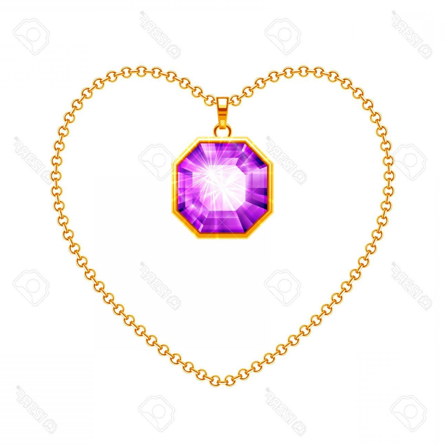 1560x1560 Photostock Vector Golden Chain Necklace With Diamond Pendant