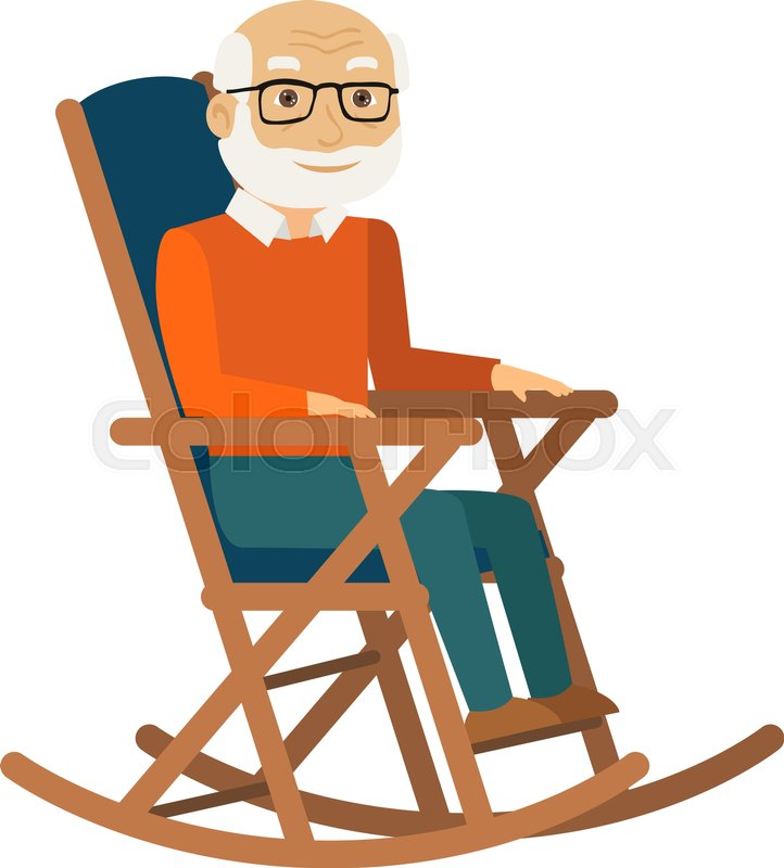 722x800 Old Man Sitting In Rocking Chair. Vector Illustration. Stock