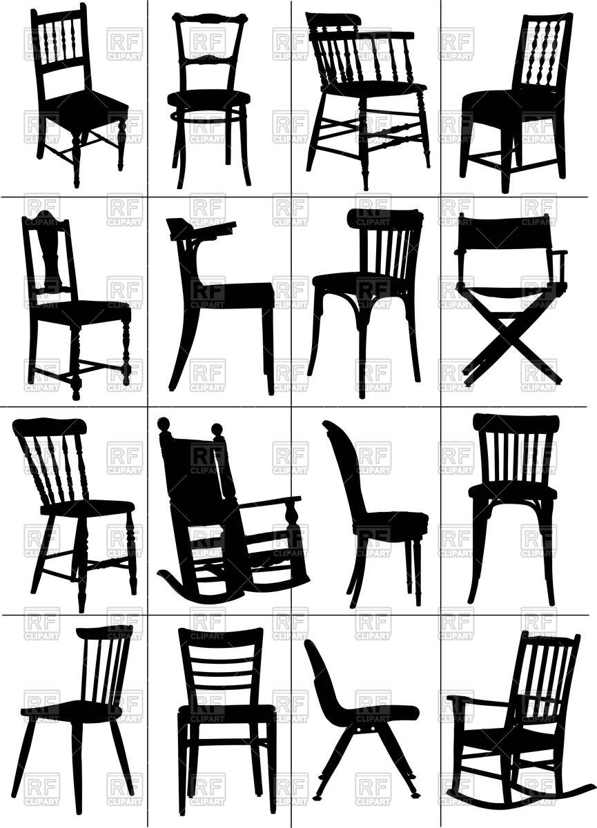 865x1200 Silhouettes Of Home And Rocking Chair Vector Image Vector