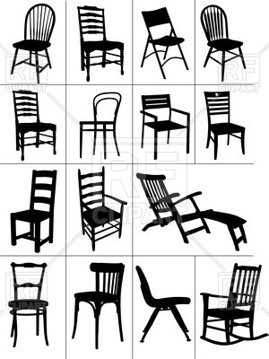 300x400 Silhouettes Of Home Chairs, Chaise Longue And Rocking Chair Vector