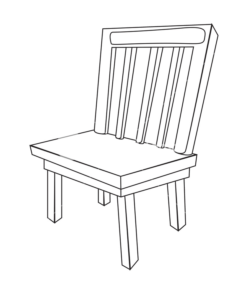 812x1000 Wooden Chair Vector Shape Royalty Free Stock Image