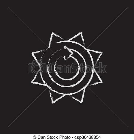 450x470 Sun With Round Arrow Icon Drawn In Chalk. Sun With Round Arrow