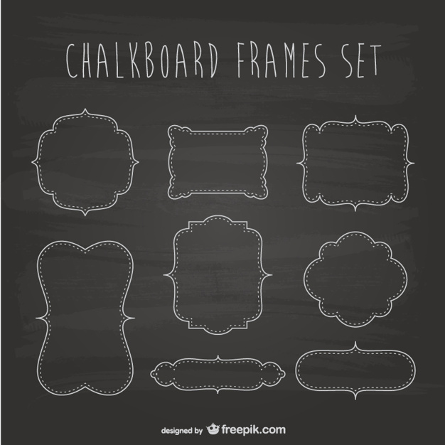 626x626 Chalkboard Frames Set Vector Free Download