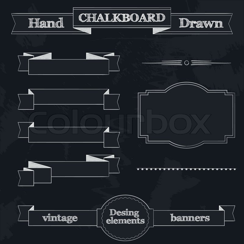 800x800 Set Of Chalkboard Style Banners, Ribbons And Frames Stock Vector