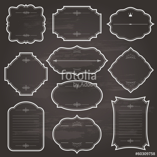 500x500 Vintage Chalk Frame Set On Chalkboard. Stock Image And Royalty