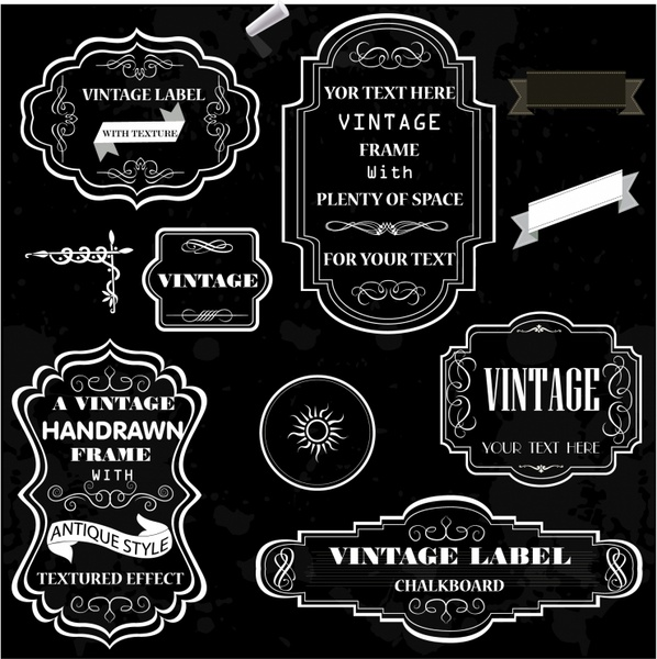 598x600 Vintage Chalk Frames Free Vector In Adobe Illustrator Ai ( .ai