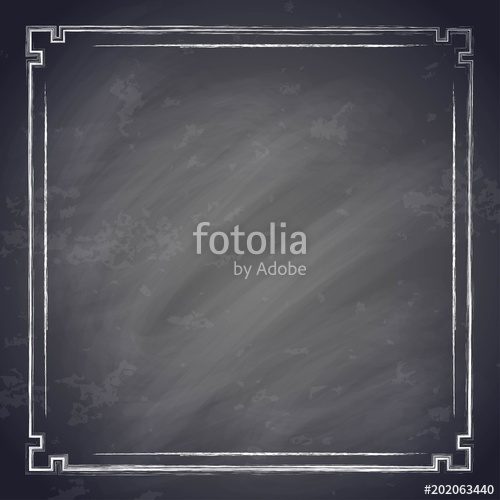 500x500 Vintage Chalkboard Background With Square Chalk Frame, Old Black