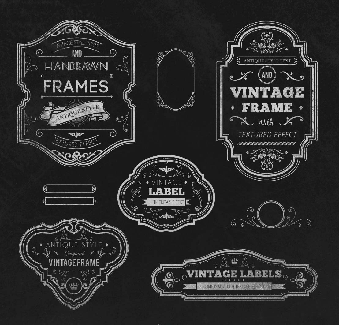 1108x1062 Vintage Handrawn Frames Set Vector Free Download