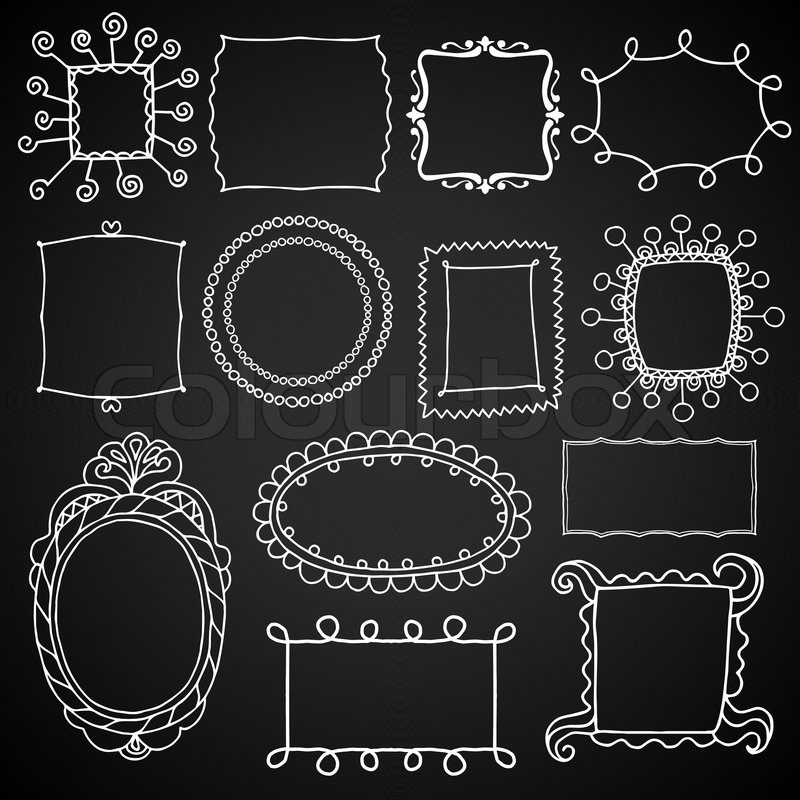 800x800 Vintage Photo Frames Set, Chalkboard Vector Design Elements