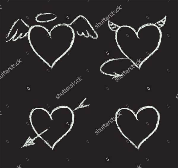 Chalk Heart Vector