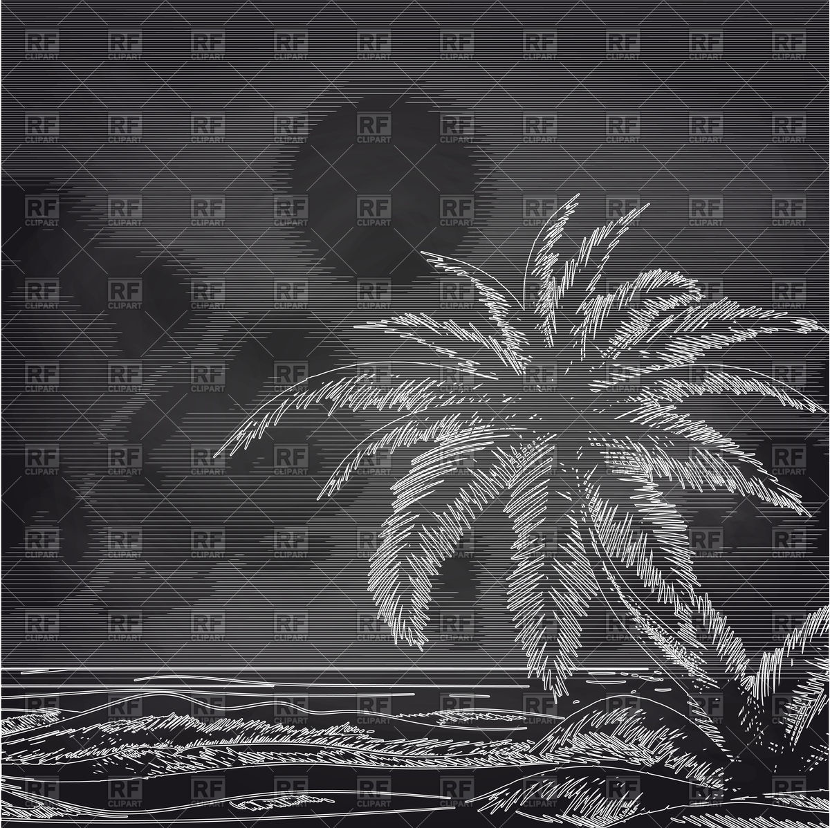 1200x1197 Chalk Palm Tree And Ocean Sketch On Chalkboard Vector Image