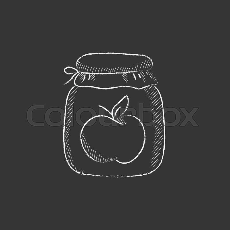 800x800 Apple Jam Jar. Hand Drawn In Chalk Vector Isolated Icon For Web