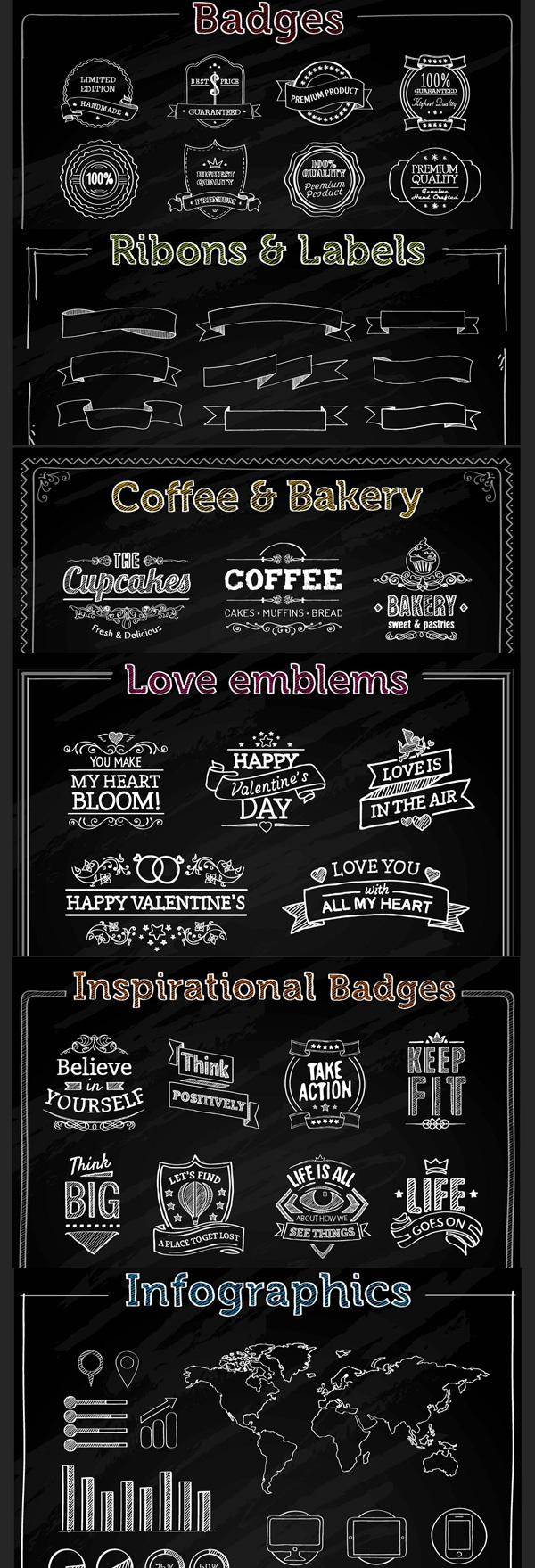 600x1759 Freebie Chalk Vector Elements (Badges, Ribbons, Labels
