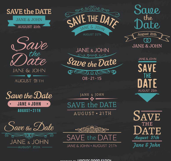 602x566 Save The Date Chalk Emblems Free Vector Download 199747 Cannypic