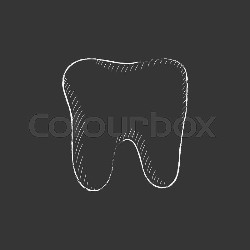 800x800 Tooth. Hand Drawn In Chalk Vector Isolated Icon For Web, Mobile