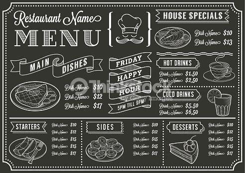 492x348 Vector Art Chalkboard Restaurant Menu Template Mexican Art