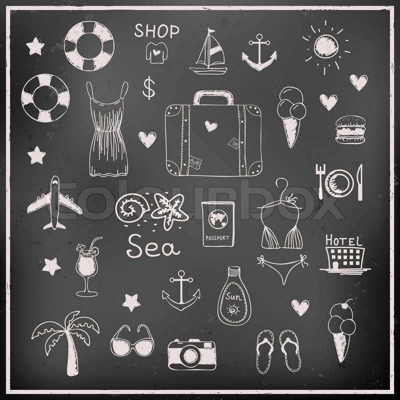 800x800 Vector Hand Drawn Summer Vacation And Travel Elements And Icons