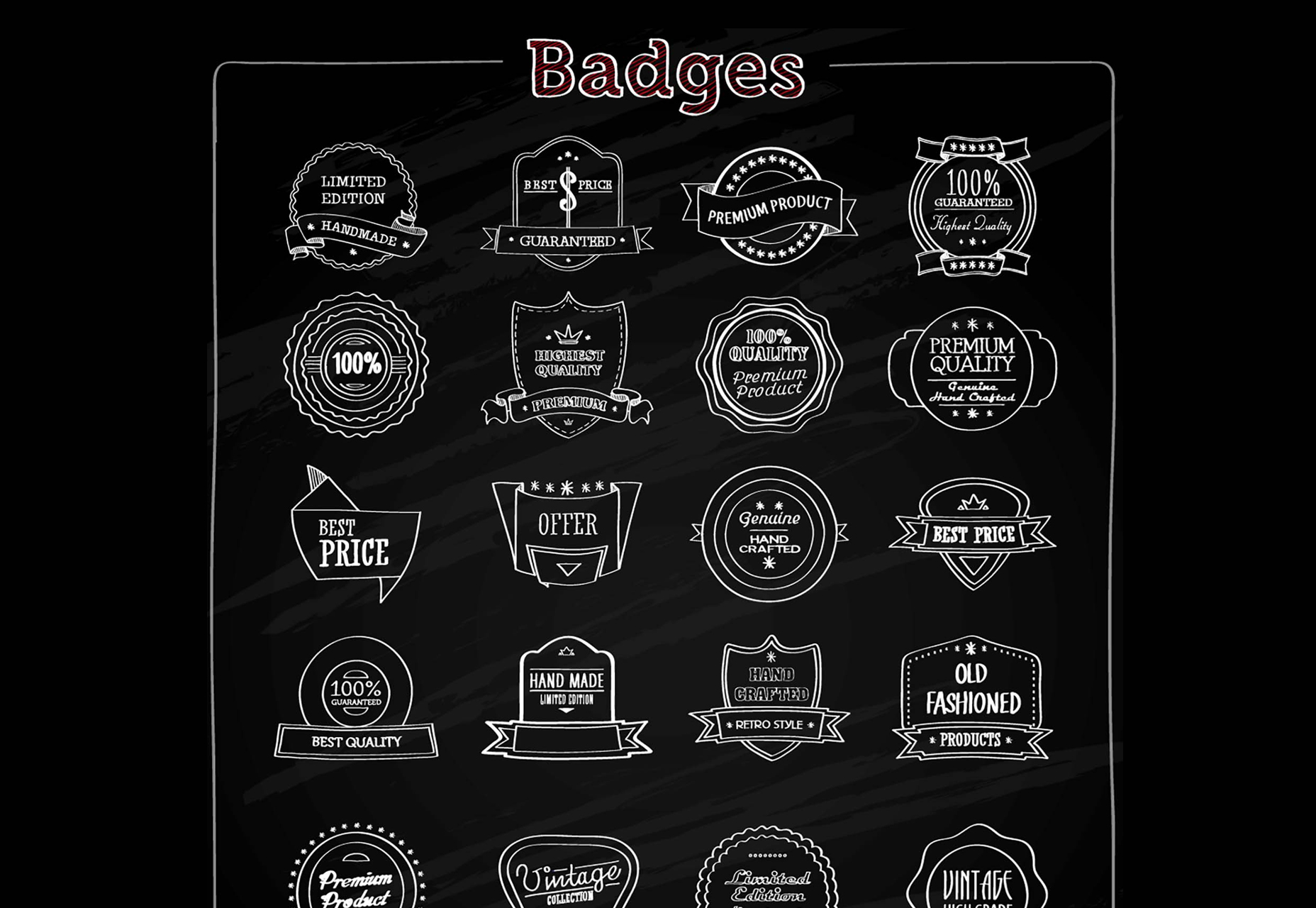 1856x1280 12 Chalkboard Elements Free Vector Images