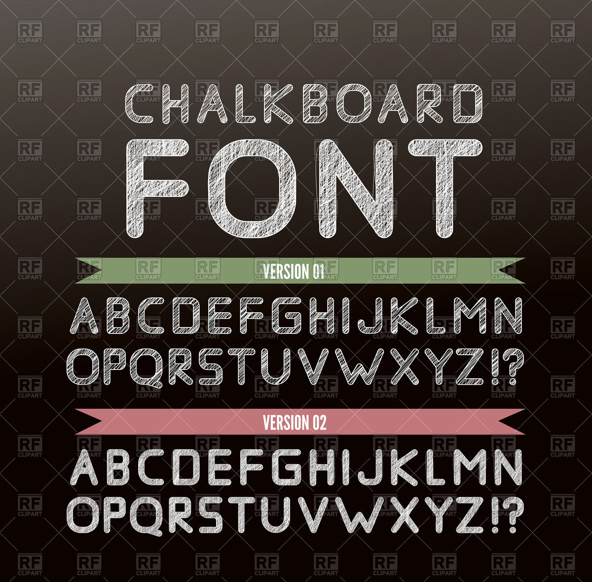 1200x1180 Chalk Font In Two Variations On Chalkboard Vector Image Vector