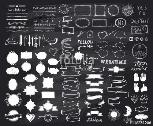 500x413 Chalk Hand Drawn Sketch Elements On Chalkboard, Vector