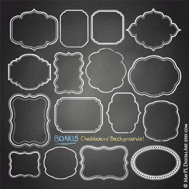 642x642 Chalkboard Frame Clipart Free Commercial Use Clipart Etsy