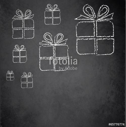 498x500 Christmas Gift Blackboard Chalkboard Vector Stock Image And