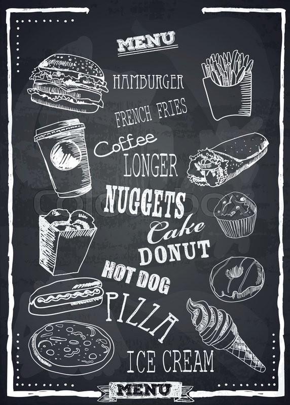 572x800 Fast Foods Menu On Chalkboard Vector . Burger, Pizza, Ice Cream