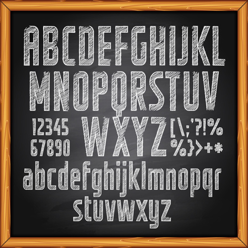 500x500 Alphabet With Numbers And Chalkboard Vector Free Vector In