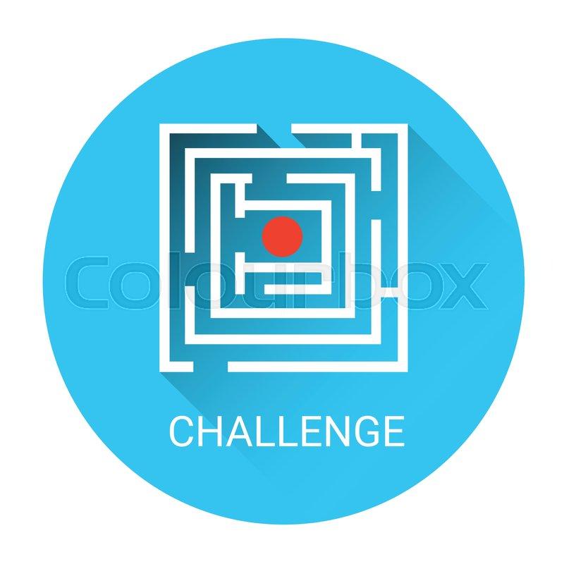800x800 Labyrinth Business Challenge Icon Flat Vector Illustration Stock