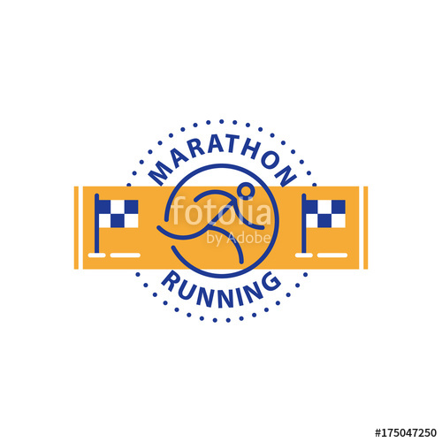 500x500 Marathon Event, Running Logo, Sports Challenge, Vector Line Icon