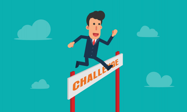 626x375 Businessman Jump Challenge Over Obstacles In The Sky Vector