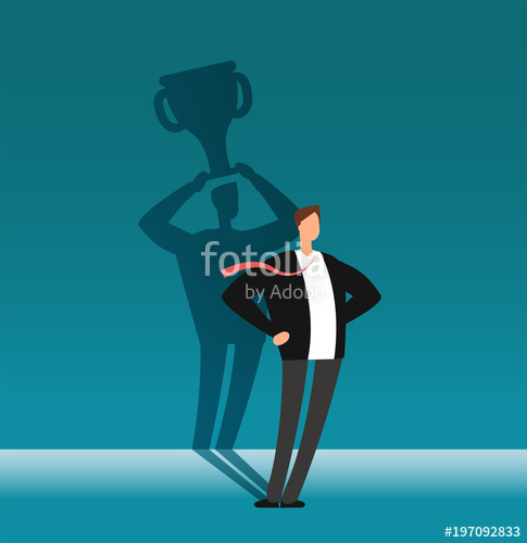 485x500 Businessman With Winner Shadow Holding Trophy Cup. Leadership