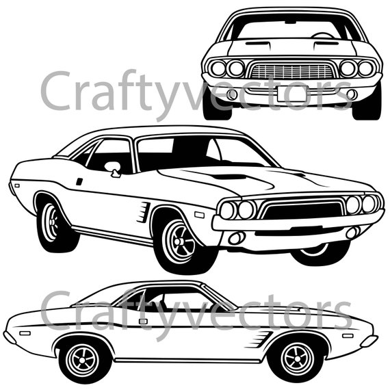 570x570 Dodge Challenger First Generation 1973 Vector File