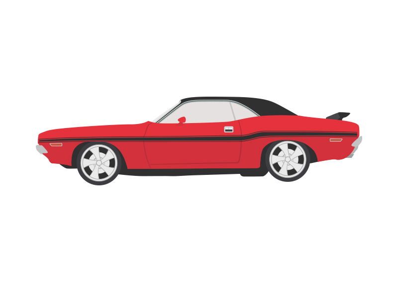 800x566 1970 Dodge Challenger Vector Car Illustration