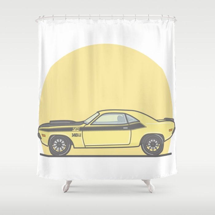 700x700 1970 Dodge Challenger Vector Illustration Shower Curtain By
