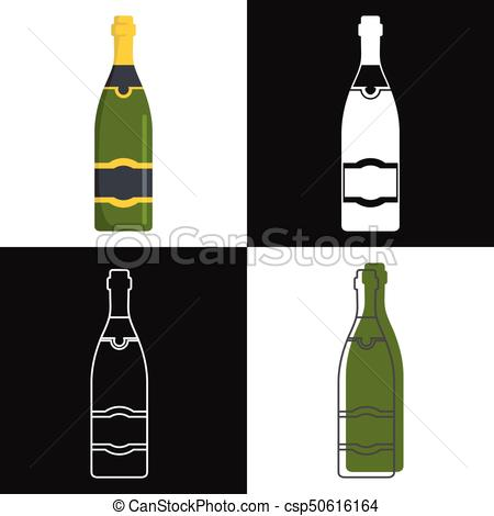 450x470 Champagne Bottles Vector Isolated On White Background. Mock Up Of