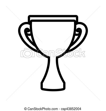 450x470 Trophy Award Competition Champion Outline Vector Illustration Eps 10.