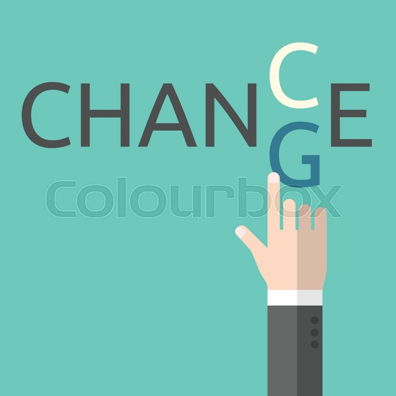 800x800 Change And Chance. Hand Changing Letters C And G. Opportunity