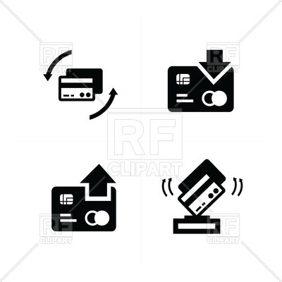 400x400 Change Credit Card, Payment, Replenishment Icons Set Vector Image