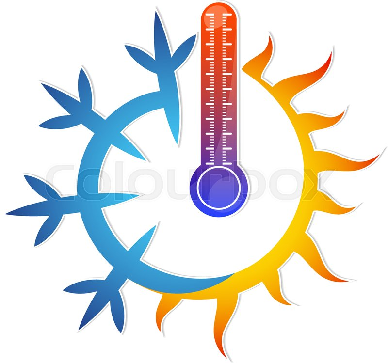 800x749 Sun, Snowflake And Thermometer. Symbol Of Temperature Change