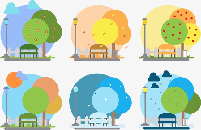 650x419 Vector Four Seasons Climate Change, Four Seasons, Bench, Trees Png