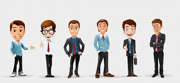 594x274 Businessman Vector Character Set 2