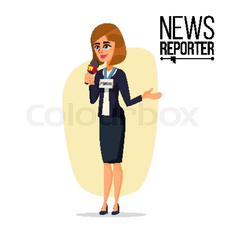800x800 Female Journalist Vector. Microphone. Professional Reporter